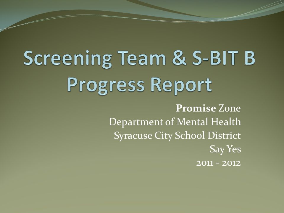 Screening Team & S-BIT B Progress Report