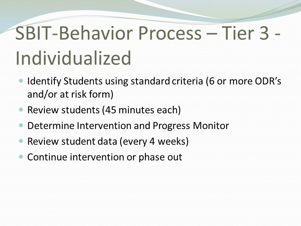 SBIT-Behavior Process – Tier 3 - Individualized