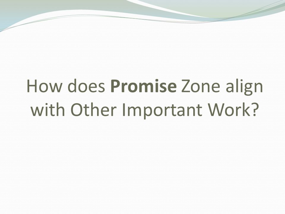 How does Promise Zone align with Other Important Work