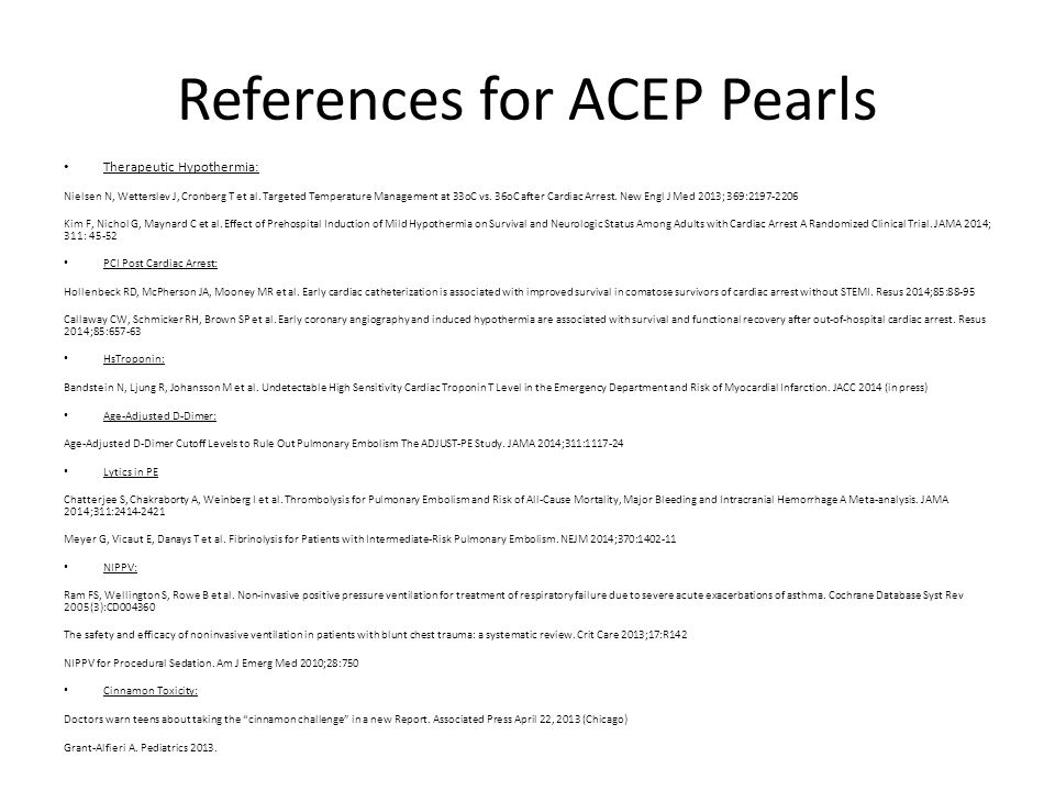 References for ACEP Pearls