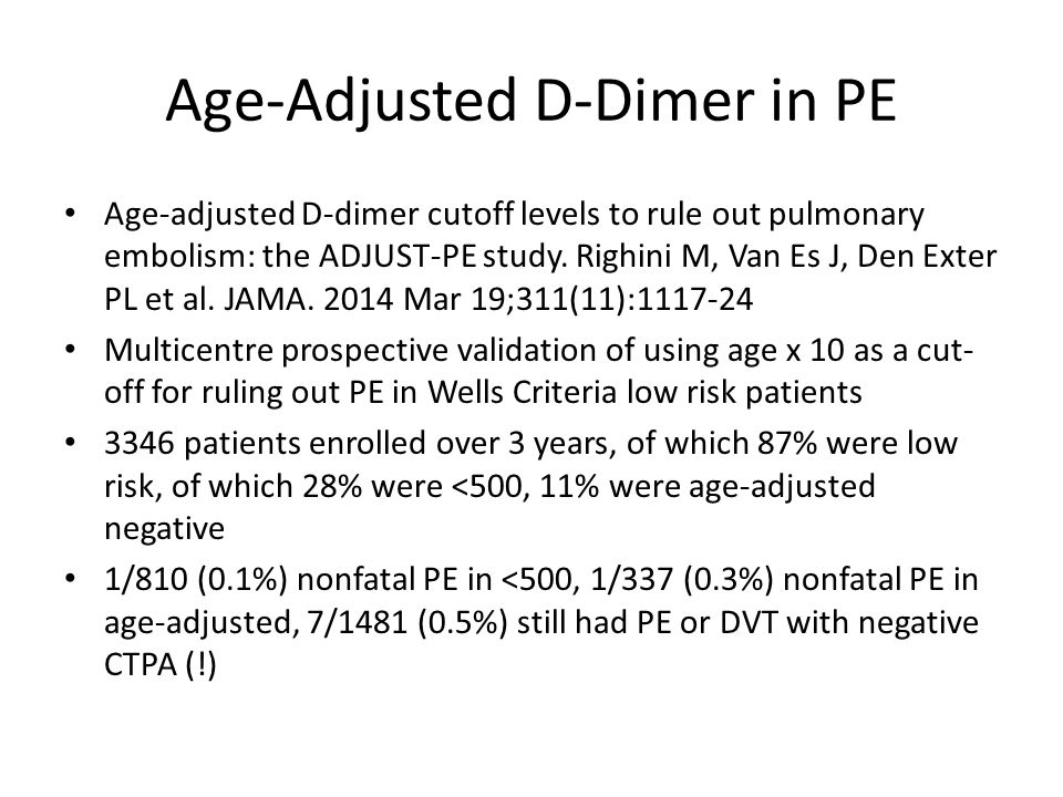 Age-Adjusted D-Dimer in PE