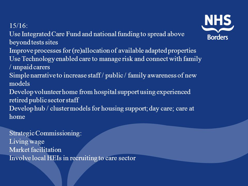 15/16: Use Integrated Care Fund and national funding to spread above beyond tests sites.
