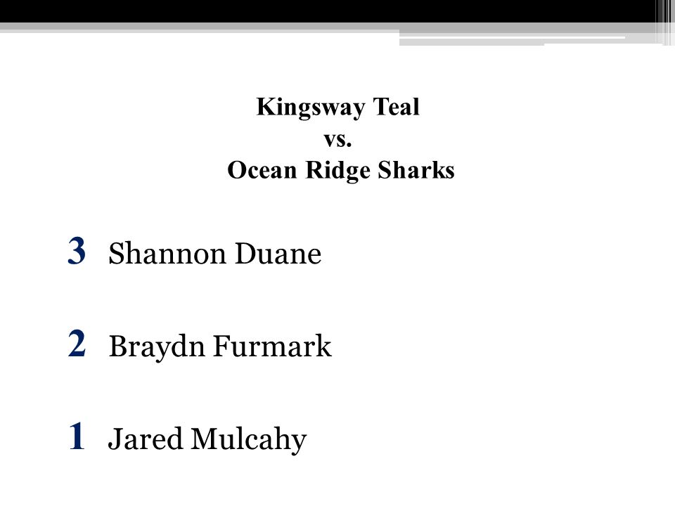 Kingsway Teal vs. Ocean Ridge Sharks