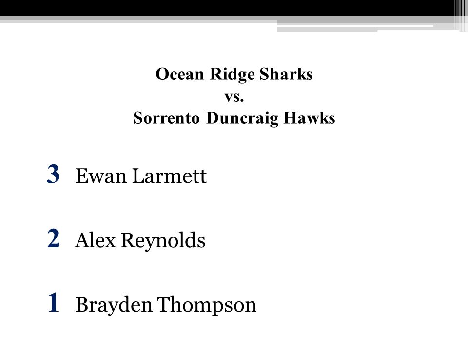 Ocean Ridge Sharks vs. Sorrento Duncraig Hawks