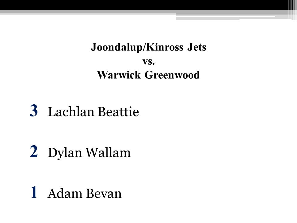 Joondalup/Kinross Jets vs. Warwick Greenwood