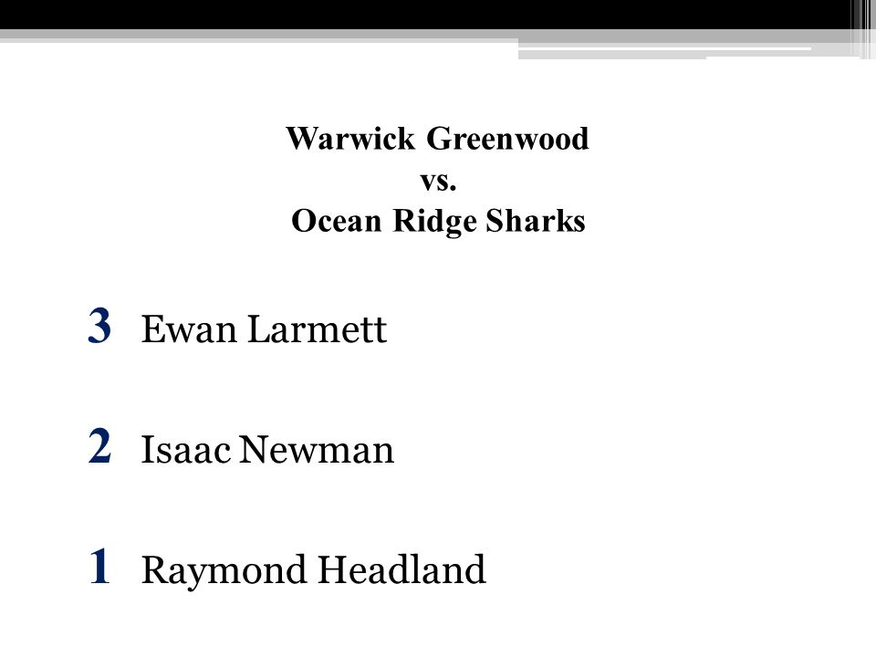 Warwick Greenwood vs. Ocean Ridge Sharks