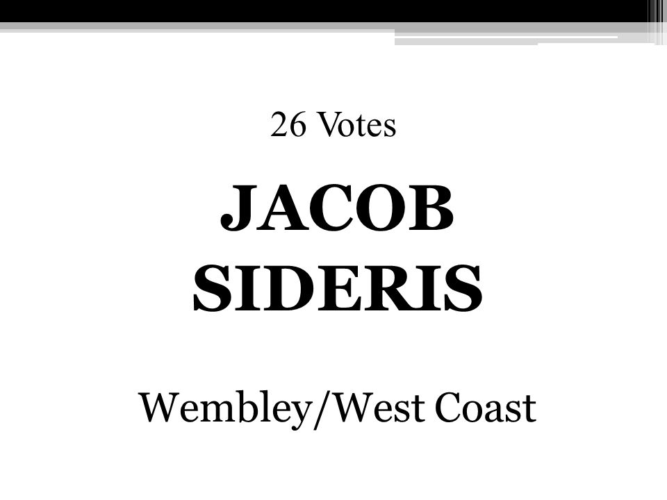 26 Votes JACOB SIDERIS Wembley/West Coast