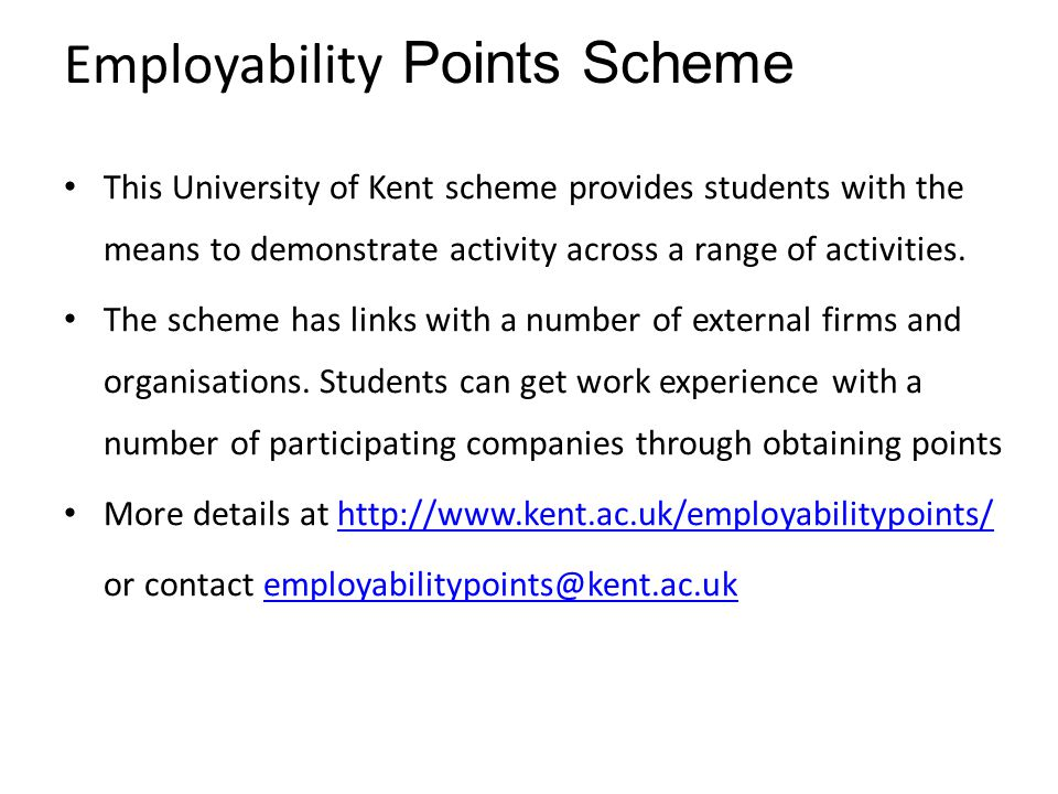 Employability Points Scheme