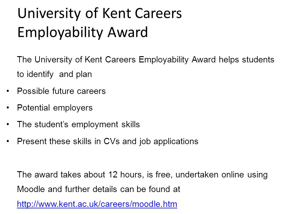 University of Kent Careers Employability Award