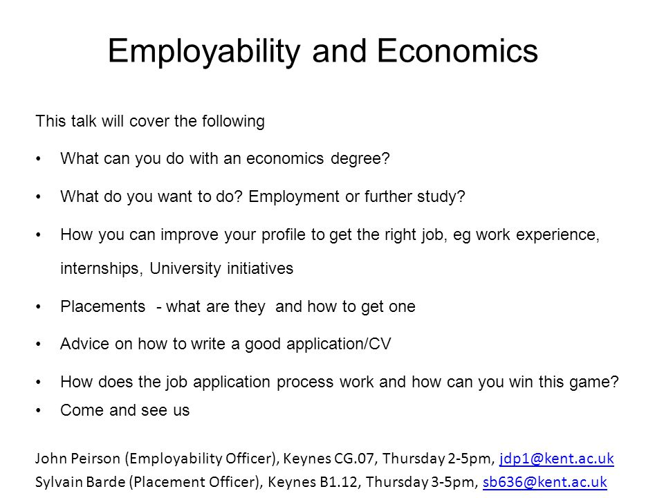 Employability and Economics