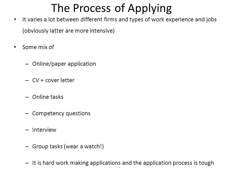 The Process of Applying