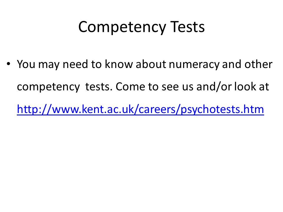 Competency Tests
