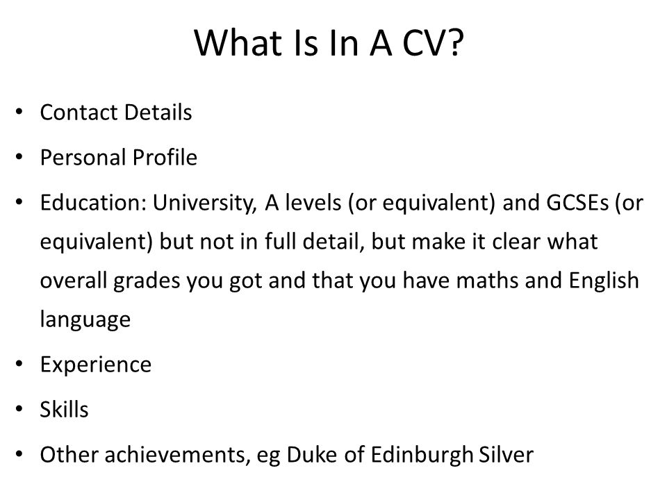 What Is In A CV Contact Details Personal Profile