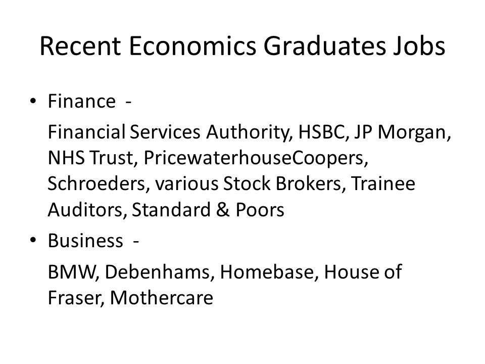 Recent Economics Graduates Jobs