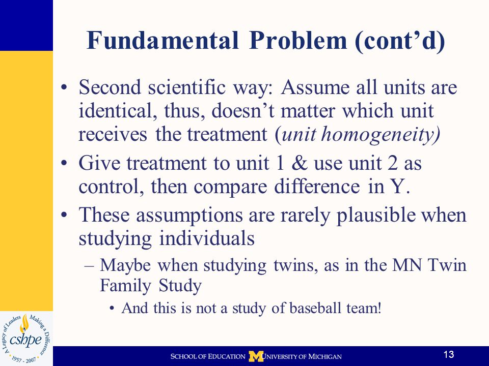 Fundamental Problem (cont'd)