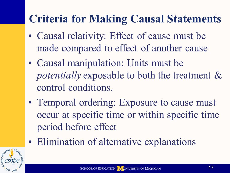Criteria for Making Causal Statements