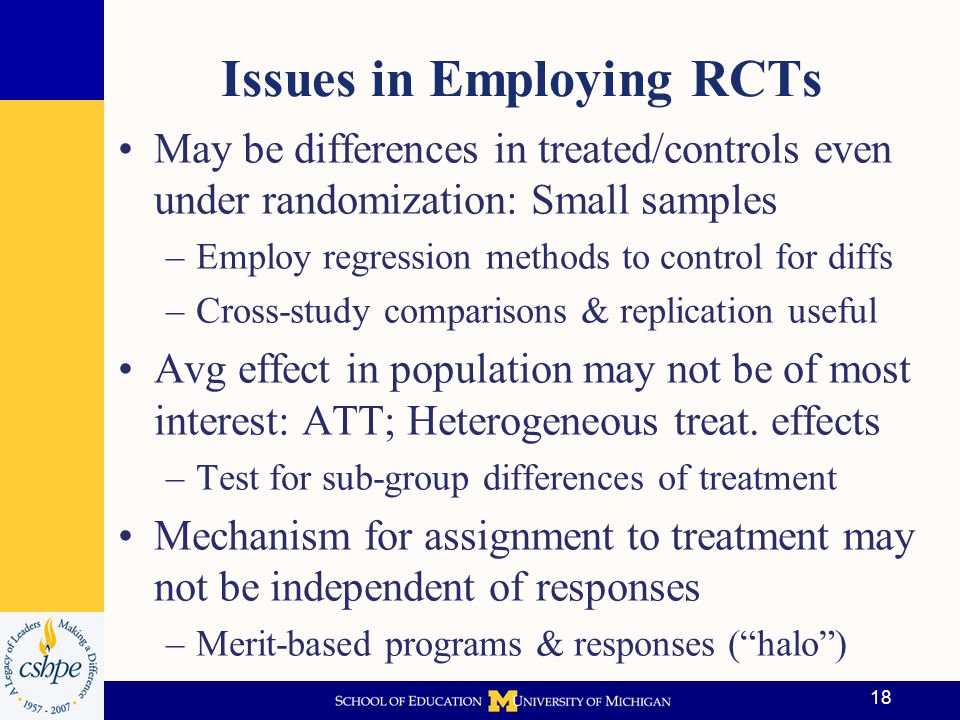 Issues in Employing RCTs