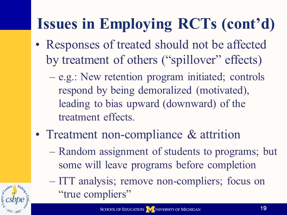 Issues in Employing RCTs (cont'd)