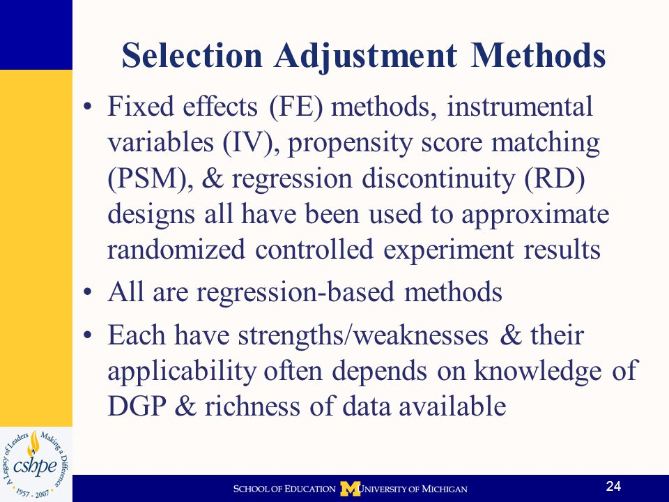 Selection Adjustment Methods