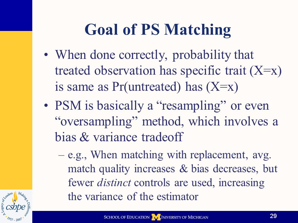 Goal of PS Matching When done correctly, probability that treated observation has specific trait (X=x) is same as Pr(untreated) has (X=x)