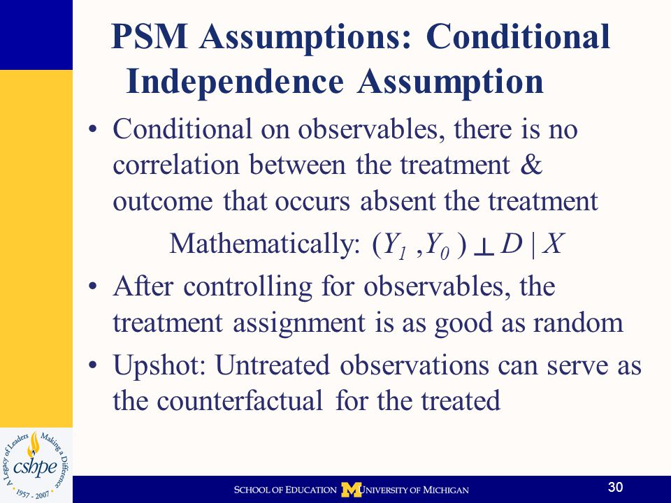 PSM Assumptions: Conditional Independence Assumption