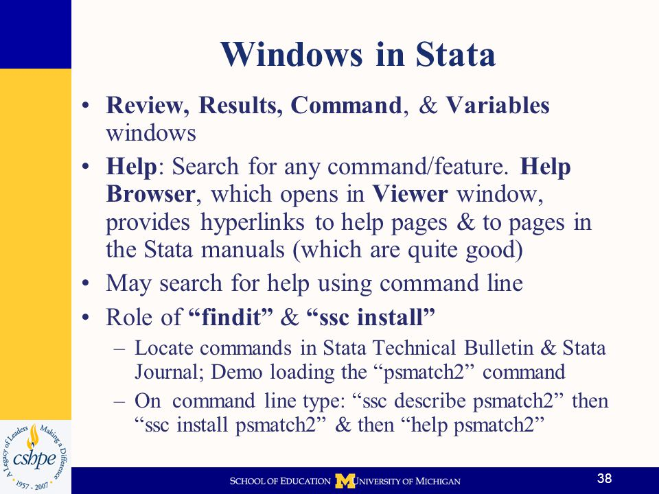 Windows in Stata Review, Results, Command, & Variables windows