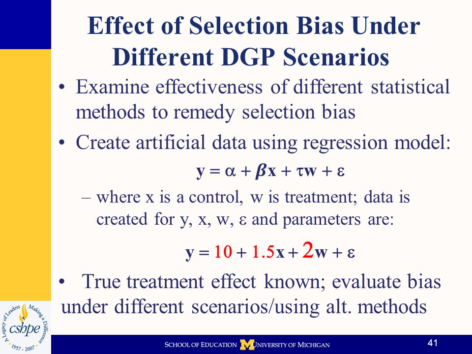 Effect of Selection Bias Under Different DGP Scenarios