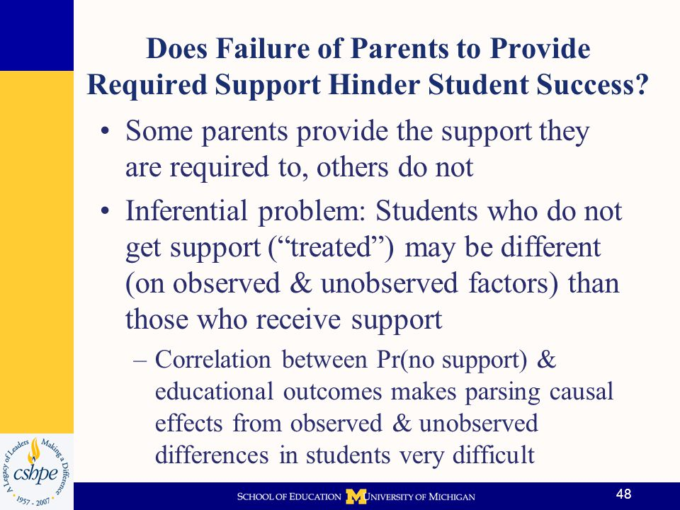 Some parents provide the support they are required to, others do not