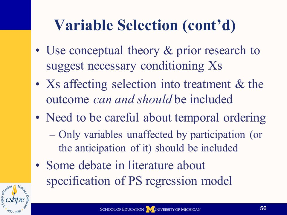 Variable Selection (cont'd)