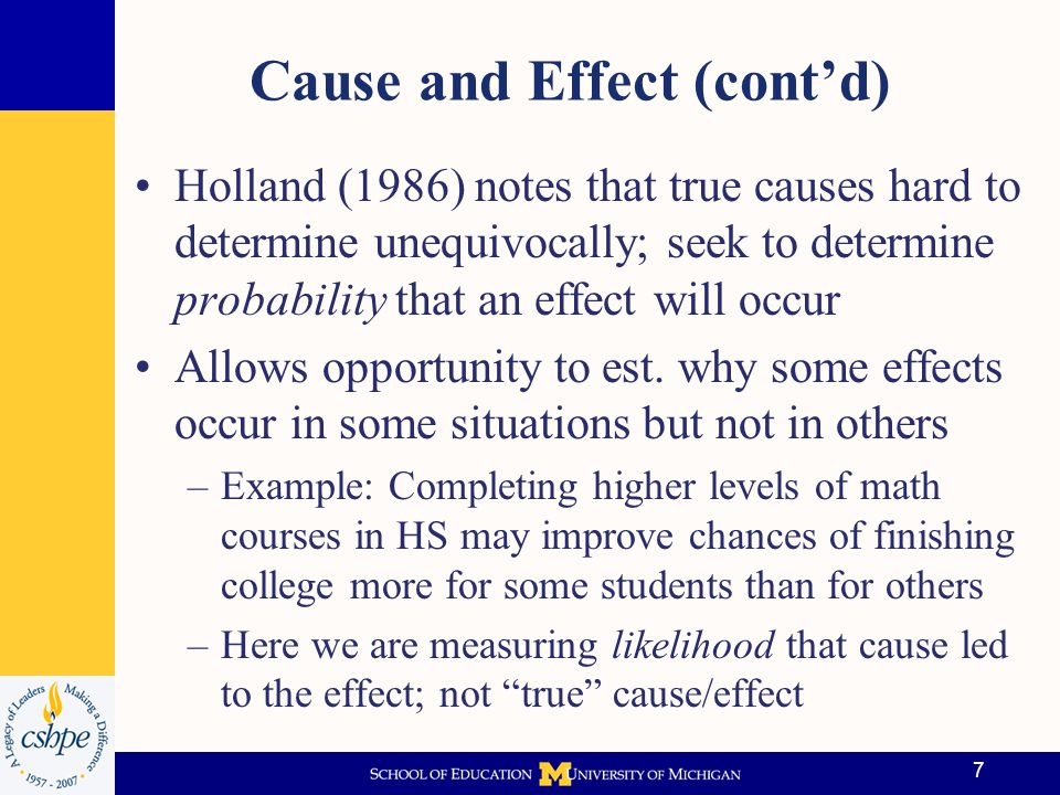 Cause and Effect (cont'd)