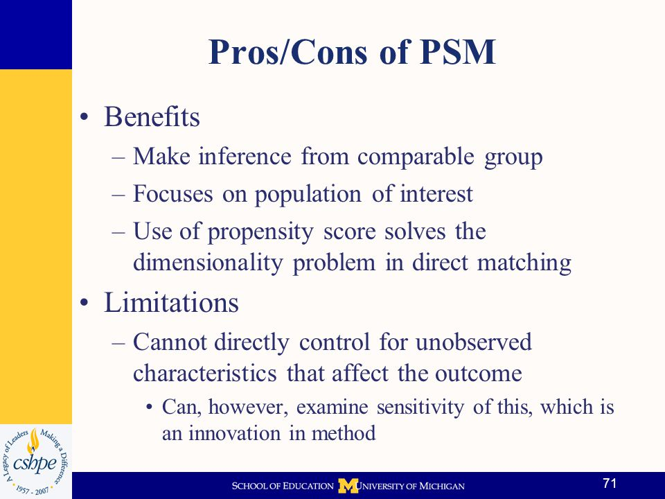 Pros/Cons of PSM Benefits Limitations