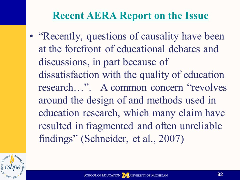 Recent AERA Report on the Issue