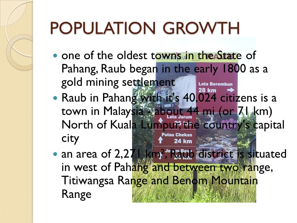 POPULATION GROWTH one of the oldest towns in the State of Pahang, Raub began in the early 1800 as a gold mining settlement.