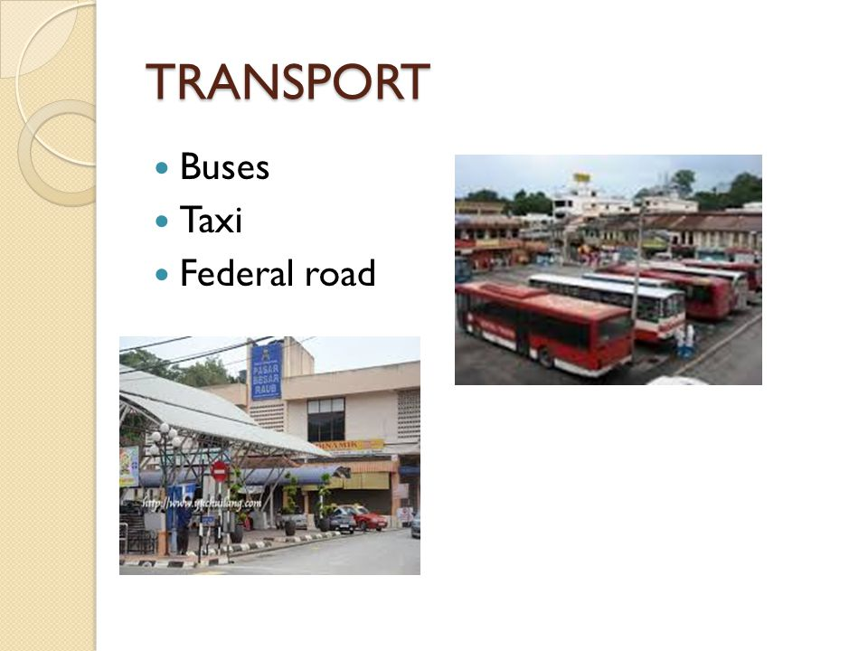 TRANSPORT Buses Taxi Federal road