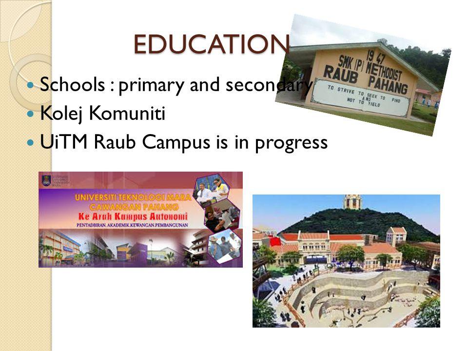 EDUCATION Schools : primary and secondary Kolej Komuniti