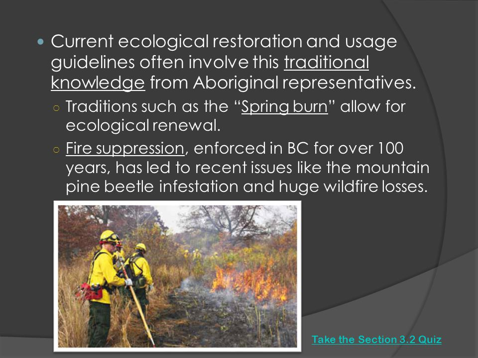 Current ecological restoration and usage guidelines often involve this traditional knowledge from Aboriginal representatives.