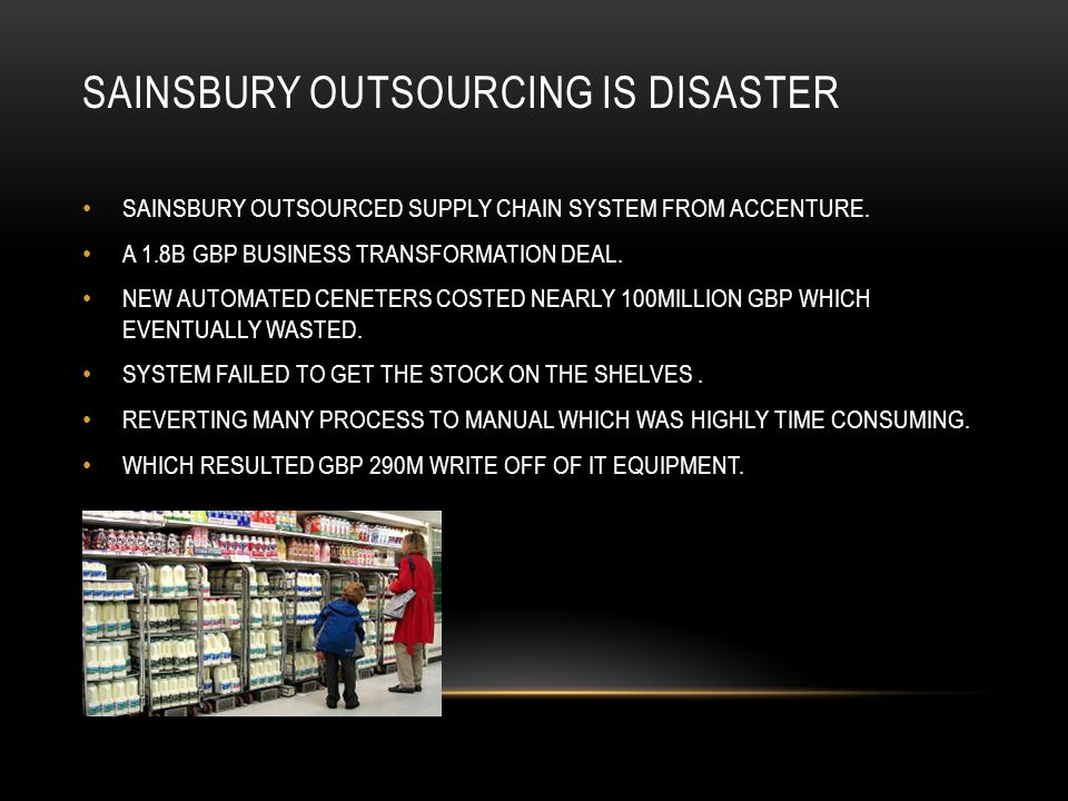 SAINSBURY OUTSOURCING IS DISASTER