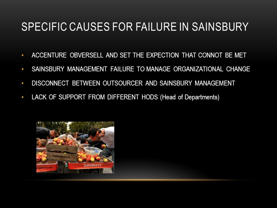 SPECIFIC CAUSES FOR FAILURE IN SAINSBURY