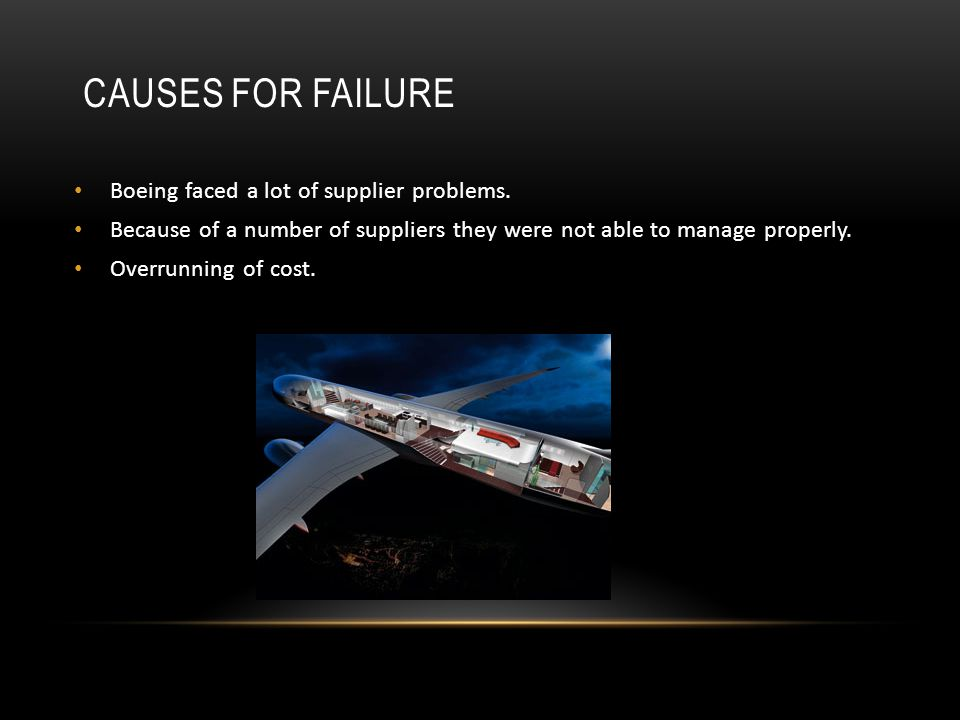Causes for failure Boeing faced a lot of supplier problems.
