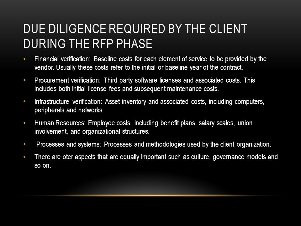 Due diligence required by the client during the RFP phase
