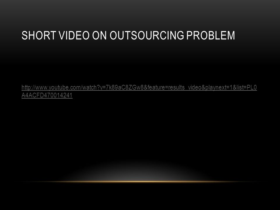 Short Video on Outsourcing problem