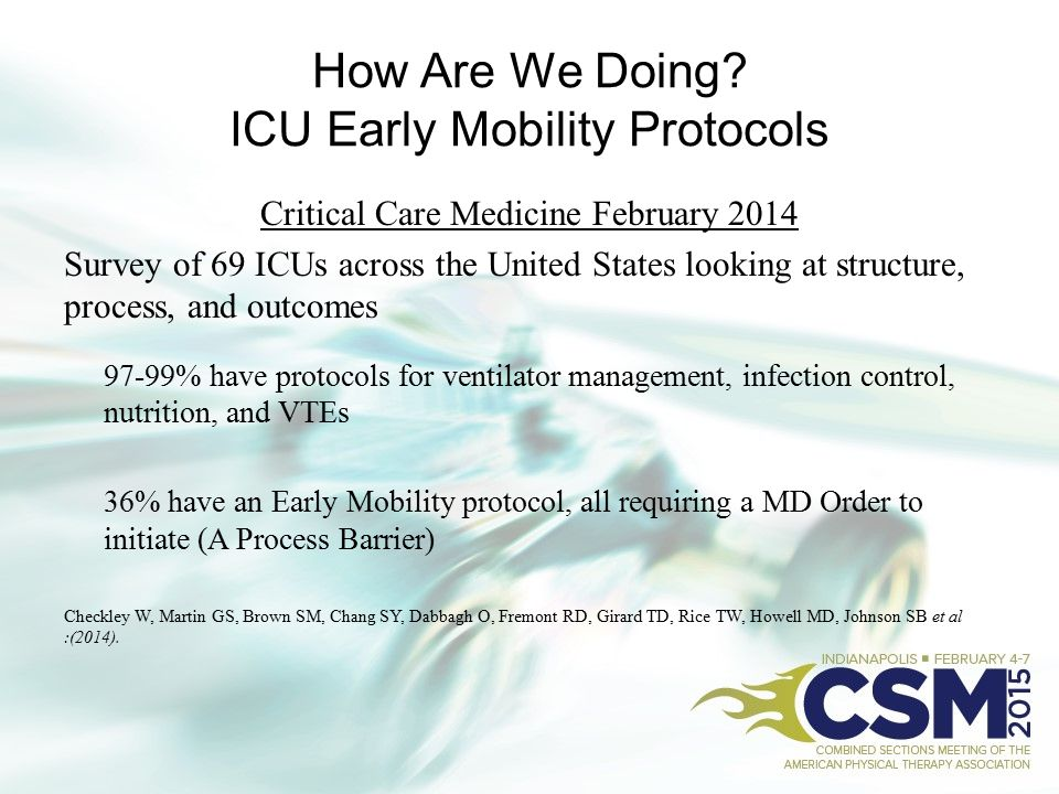 How Are We Doing ICU Early Mobility Protocols