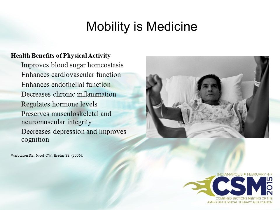 Mobility is Medicine Improves blood sugar homeostasis