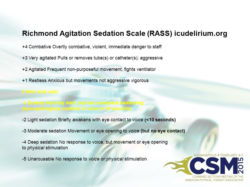 Richmond Agitation Sedation Scale (RASS) icudelirium.org