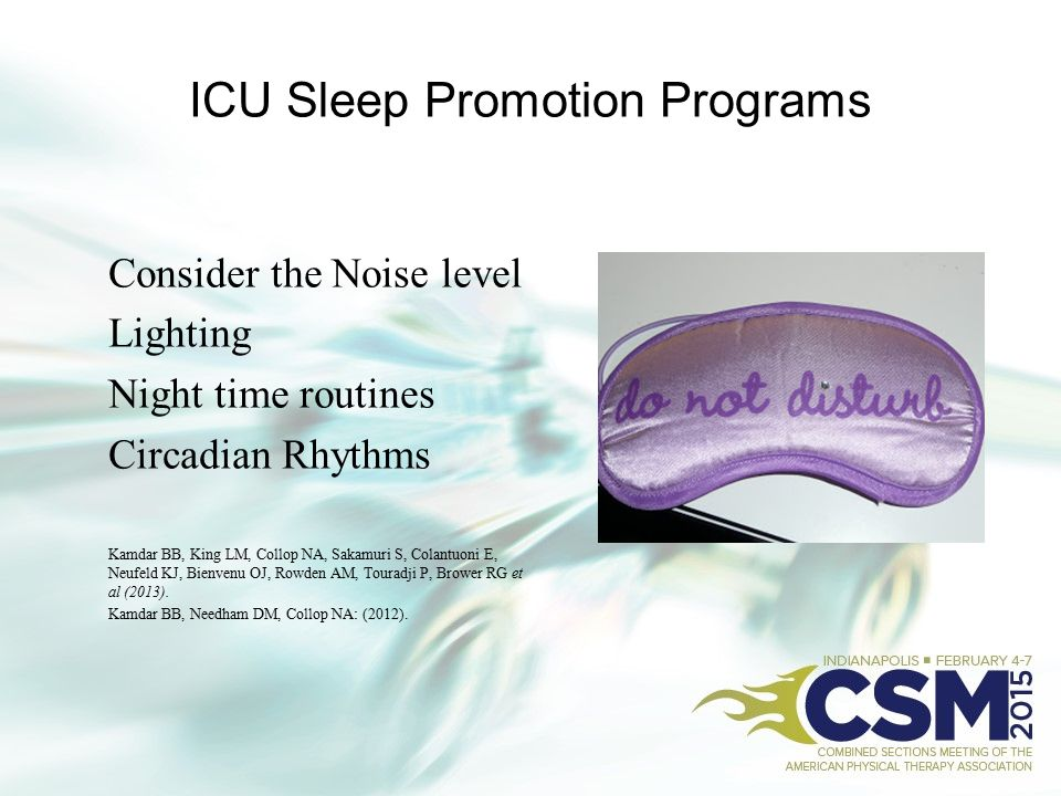 ICU Sleep Promotion Programs