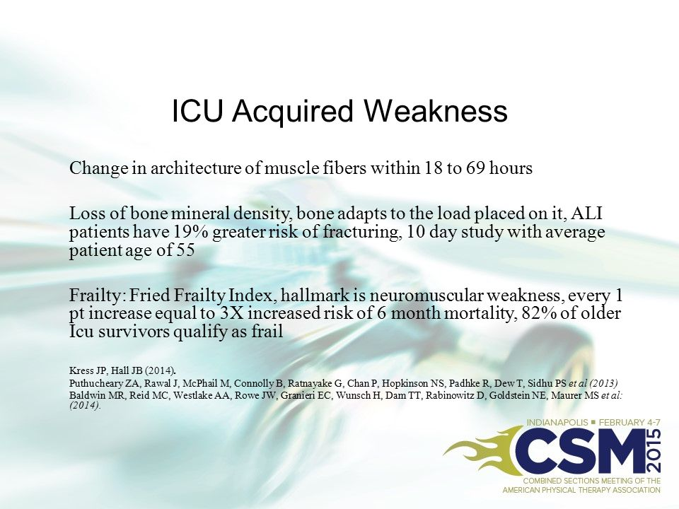ICU Acquired Weakness Change in architecture of muscle fibers within 18 to 69 hours.