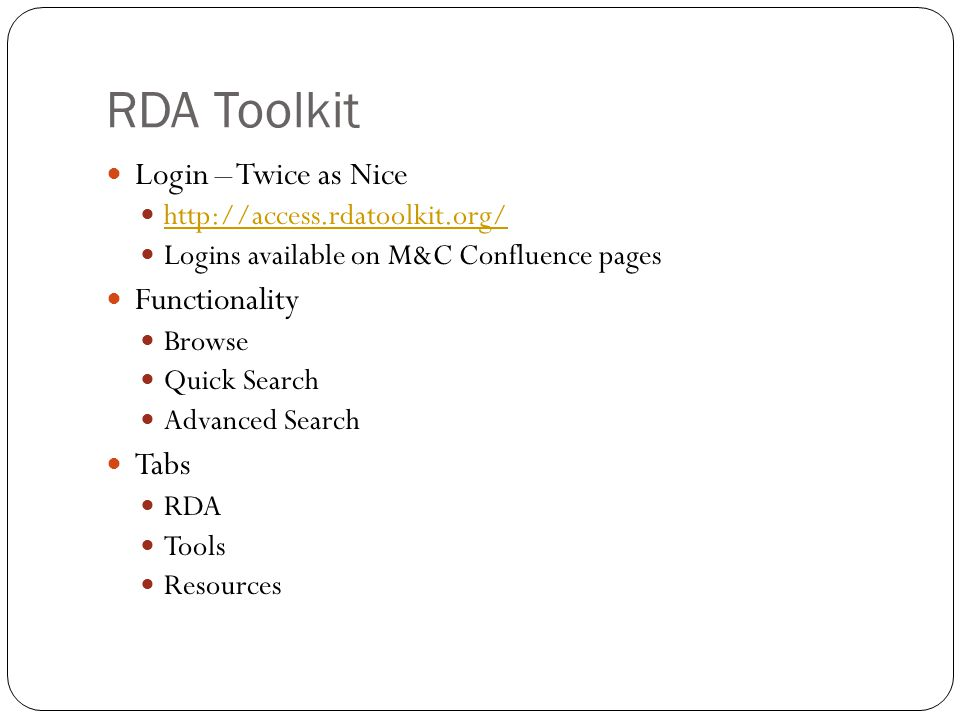 RDA Toolkit Login – Twice as Nice Functionality Tabs