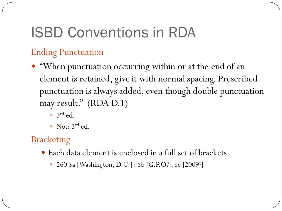 ISBD Conventions in RDA