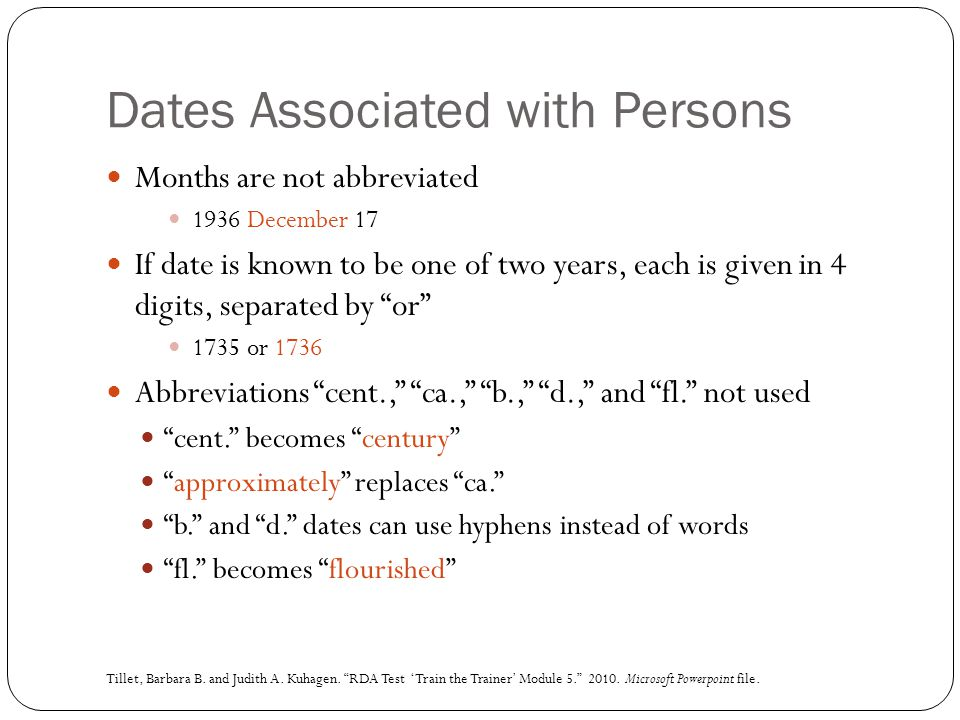 Dates Associated with Persons