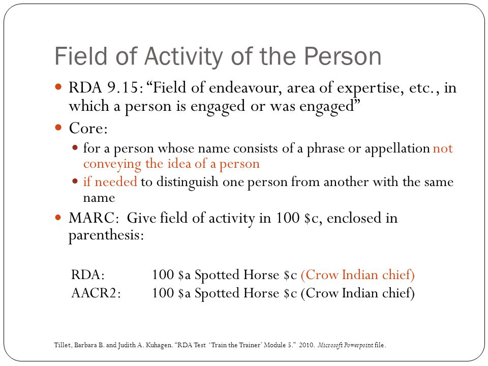 Field of Activity of the Person